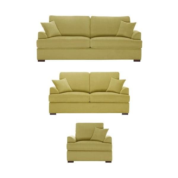 Žlutá trojdílná sedací souprava Jalouse Maison Irina