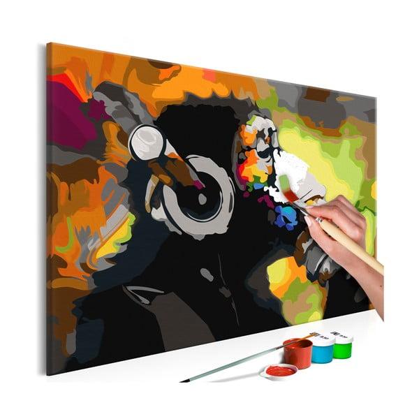 DIY set na tvorbu vlastného obrazu na plátne Artgeist Monkey Headphones, 60 × 40 cm
