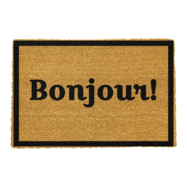 Rohožka z prírodného kokosového vlákna Artsy Doormats Bonjour, 40 x 60 cm