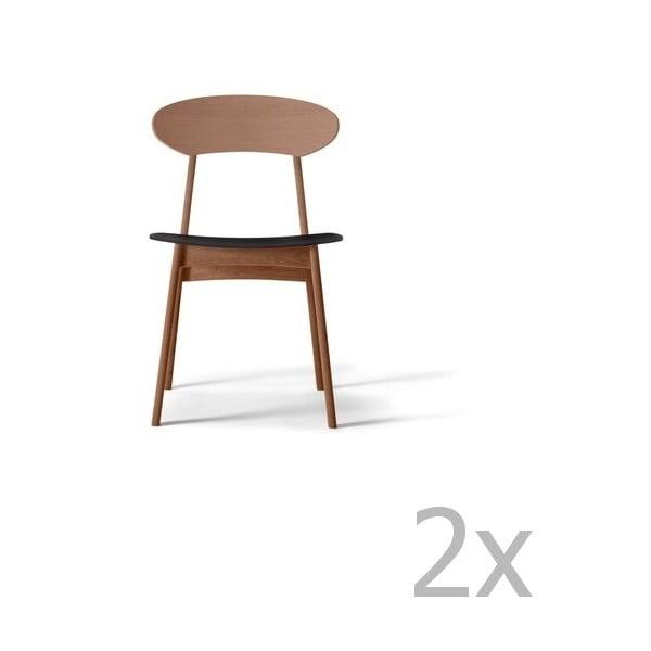 Sada 2 jídelních židlí z masivního ořechového dřeva s černým sedákem WOOD AND VISION Tribe