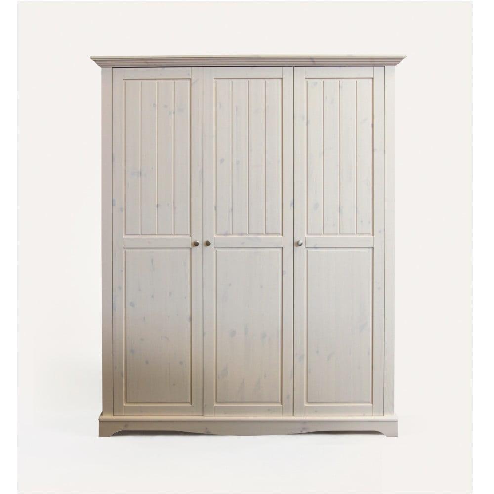 Bílá šatní skříň z borovicového dřeva Steens Lotta, 201,8 x 169,3 cm