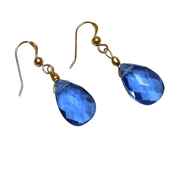 Zlaté náušnice Blue Topaz Quartz Teardrop (topaz)