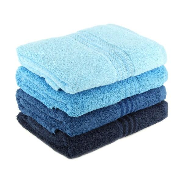 Komplet 4 niebieskich ręczników bawełnianych Rainbow Sky, 70x140 cm