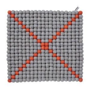 Modulový koberec Wool Mat Grey/Coral, 40x40 cm