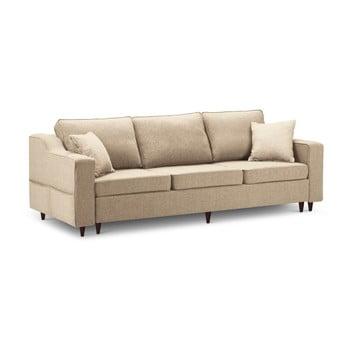 Canapea extensibilă cu 3 locuri și spațiu de depozitare Mazzini Sofas Narcisse, bej de la Mazzini Sofas