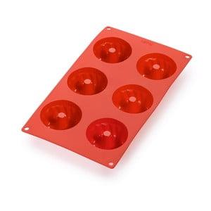Červená silikonová forma na 6 mini bábovek Lékué