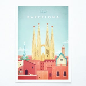 Poster Travelposter Barcelona, A2