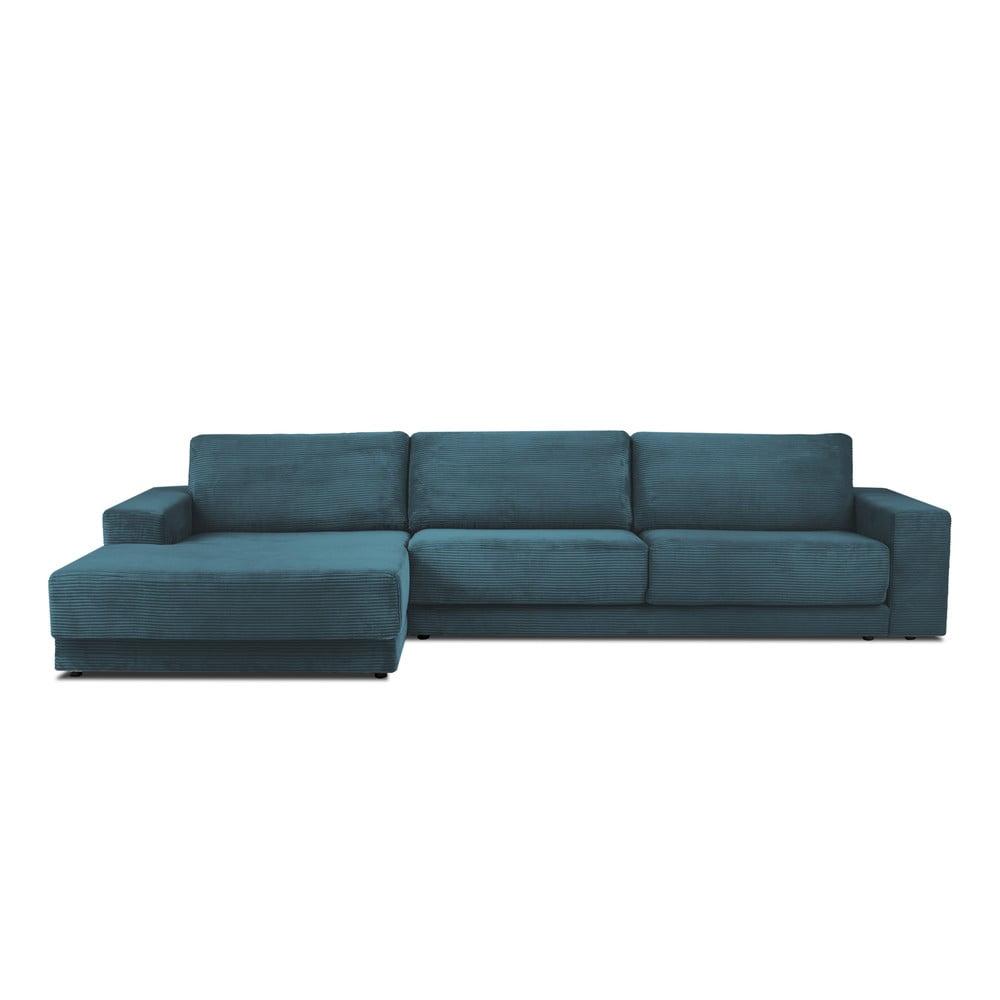 Modrá XXL šestimístná rozkládací pohovka Milo Casa Donatella, levý roh