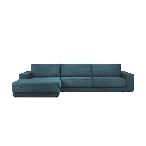 Modrá menčestrová XXL päťmiestna rozkladacia pohovka Milo Casa Donatella, ľavý roh