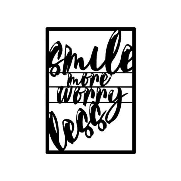 Černá kovová nástěnná dekorace Smile More, 39 x 54 cm