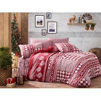 Lenjerie cu cearceaf pentru pat dublu, din bumbac ranforsat Nazenin Home Deer Claret Red, 200 x 220 cm de la Nazenin Home