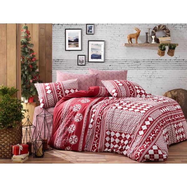 Lenjerie cu cearceaf pentru pat de o persoană, din bumbac ranforsat Nazenin Home Deer Claret Red, 160 x 220 cm