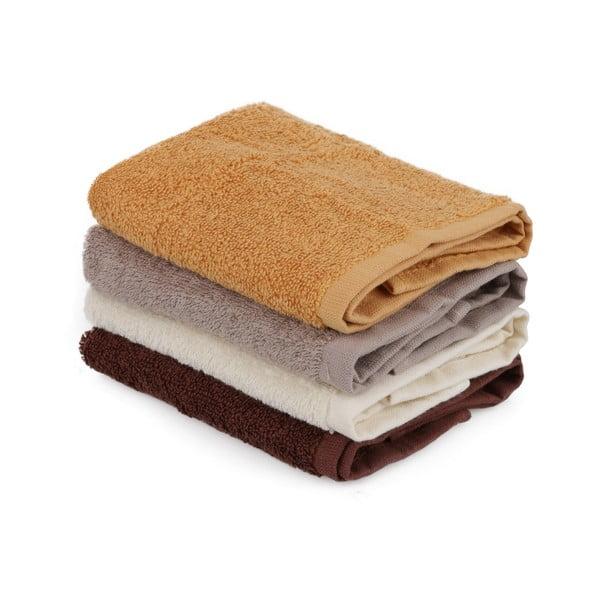 Sada 4 béžovo-hnědých bavlněných ručníků, 30 x 30 cm
