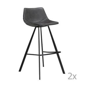 Set 2 scaune bar cu bază metalică neagră DAN-FORM Pitch, gri