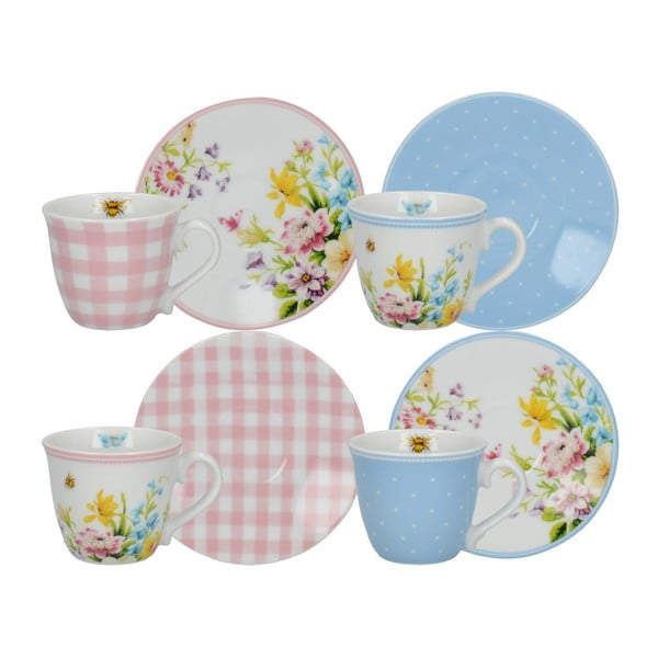 Sada 4 porcelánových šálků na espresso a podšálků Creative Tops English Garden, 100 ml