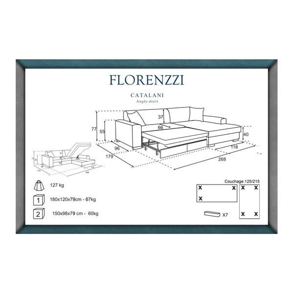 Béžová rozkládací pohovka Florenzzi Catalani s lenoškou na pravé straně