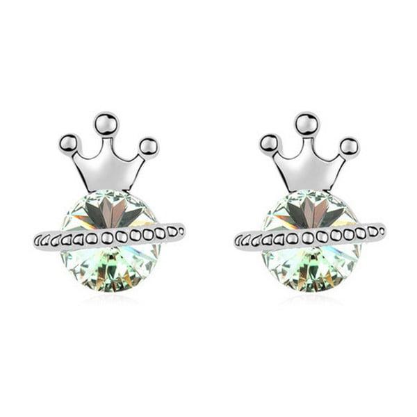 Kolczyki pozłacane białym złotem z kryształami Swarovski Elements Crystals Queen