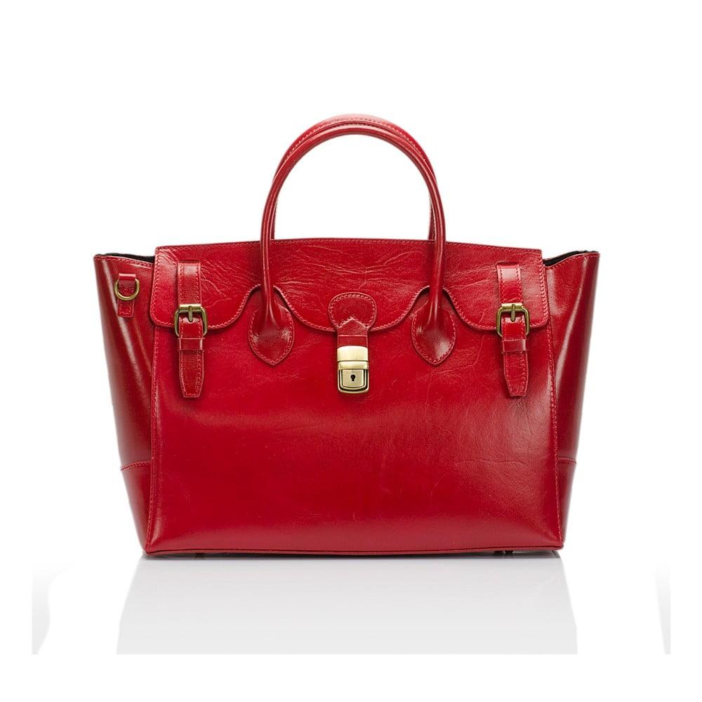 Červená kožená kabelka Lisa Minardi Bifrenia