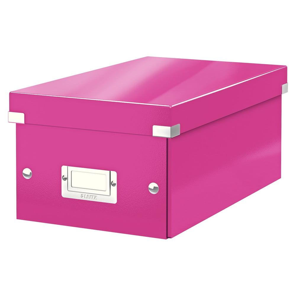 Růžová úložná krabice s víkem Leitz DVD Disc, délka 35 cm
