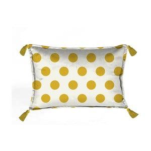 Žluto-bílý dekorativní polštář Velvet Atelier Dots, 50 x 35 cm