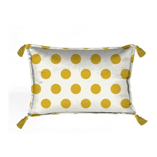 Dots sárga-fehér párnahuzat, 50 x 35 cm - Velvet Atelier