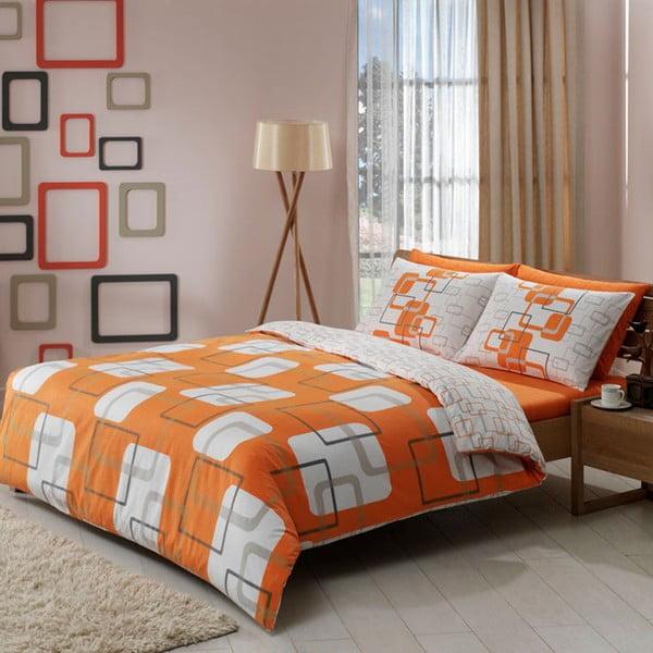 Povlečení TAC Orange Squares s prostěradlem, 200x220 cm
