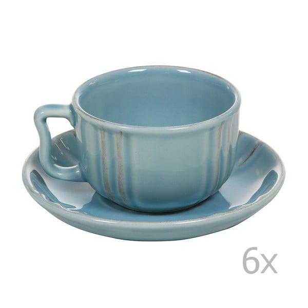 Set 6 cești cu farfurie din ceramică Santiago Pons Ribbing, albastru