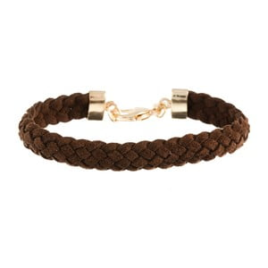 Náramek Strand braided gold, dark brown