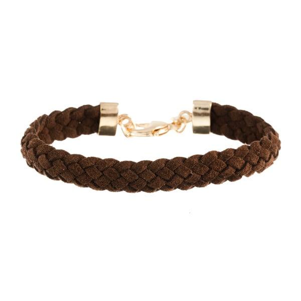 Náramek Strand braided gold, dark brown