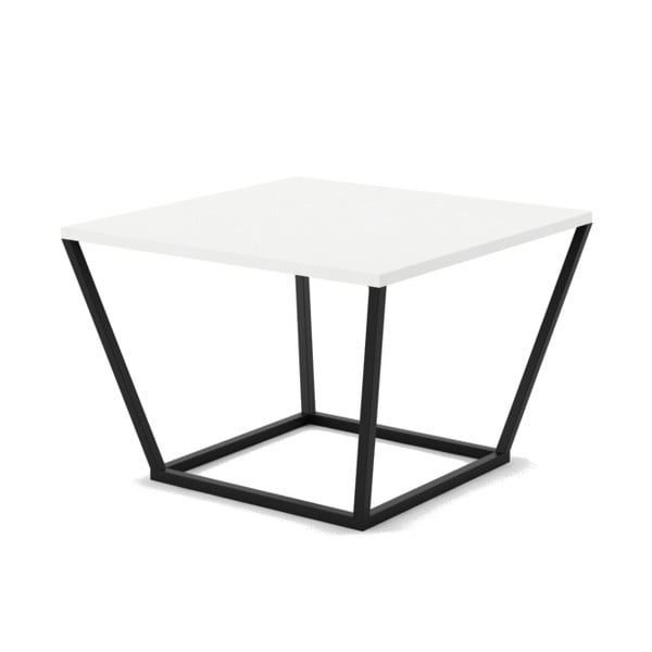 Malý bílý konferenční stůl z mramoru s černým podnožím Absynth Noi Brazil