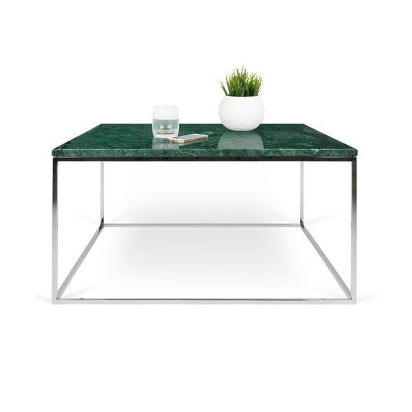 Zelený mramorový konferenční stolek s chromovými nohami TemaHome Gleam, 75 cm