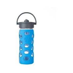 Sticlă de voiaj cu pai, din sticlă, cu protecție din silicon, Lifefactory Ocean, 350 ml