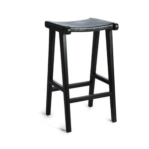 Černá barová stolička s kontrukcí z teakového dřeva a sedákem z hovězí kůže Simla Bar