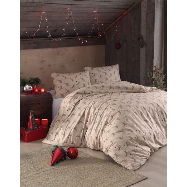 Lenjerie din bumbac pentru pat de o persoană EnLora Home Geyik Beige, 160 x 220 cm, bej