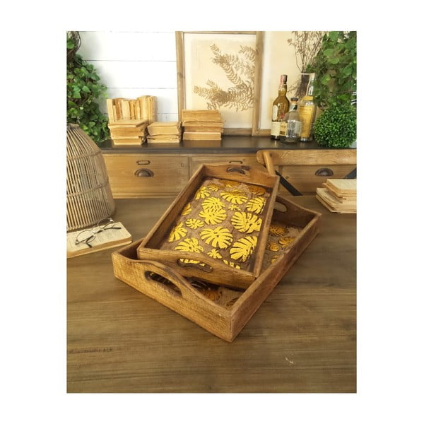 Set 2 tăvi din lemn de mango Orchidea Milano Tropical