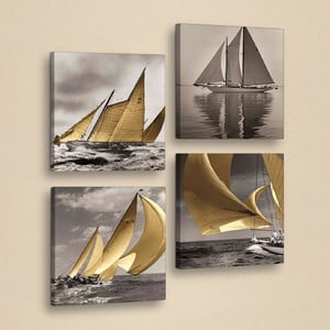 Tablou decorativ din mai multe piese Boats, 33 x 33 cm
