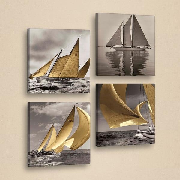 Drewniany obraz wieloczęściowy Boats, 33x33 cm