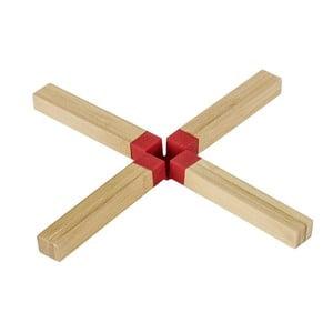 Suport din lemn pentru oale Wenko Cross Red, roșu
