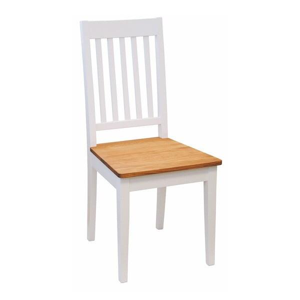 Białe krzesło do jadalni z brzozy z dębowym siedziskiem Rowico Ella