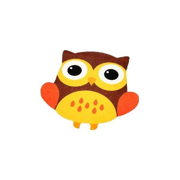 Koberec Owls - hnědo-žlutá sova, 100x100 cm