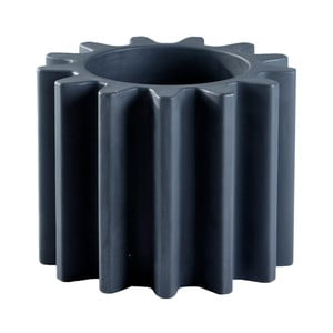Černý květináč/stolička Slide Gear, 55x43cm