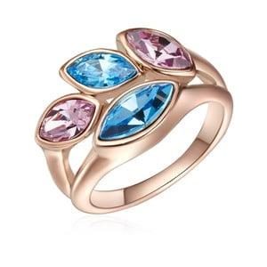 Prsten v barvě růžového zlata s krystaly Swarovski Saint Francis Crystals Summer Leaf, vel.60