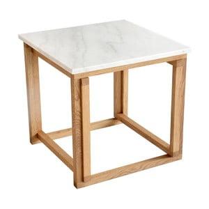Măsuță de cafea RGE Accent, blat din marmură albă și structură din lemn de stejar, 50 cm