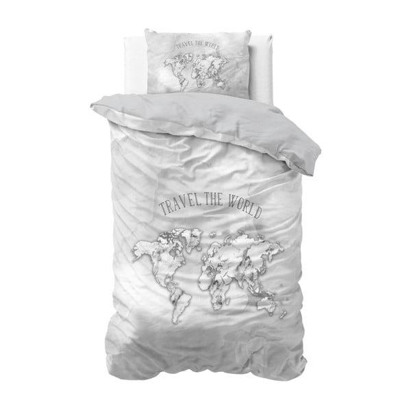 Bawełniana pościel jednoosobowa Sleeptime World, 140x220 cm
