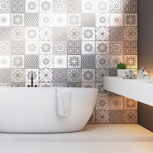 Set 12 autocolante pentru perete Ambiance Cement Tiles Shades of Gray Cordoba, 10 x 10 cm