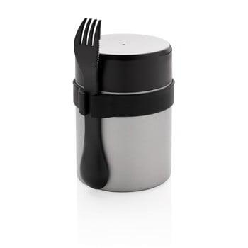 Set termos mâncare solidă și tacâmuri XD Collection, 400 ml, argintiu imagine