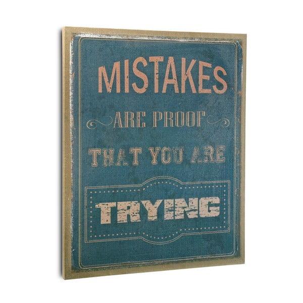 Dřevěný obraz Mistakes Blue