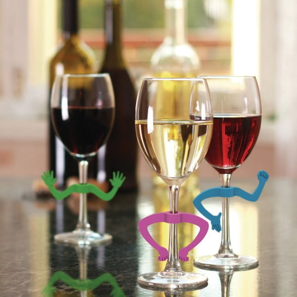 Sada 6 rozlišovačů na sklenice Fred & Friends Charades