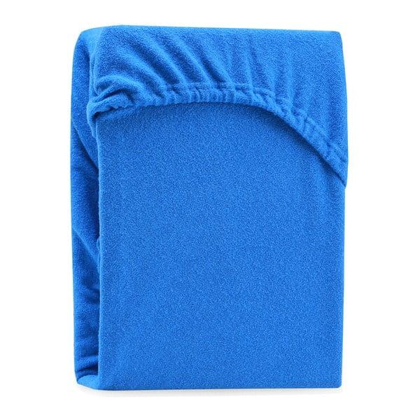 Modrá elastická plachta na dvojposteľ AmeliaHome Ruby Blue, 180-200 x 200 cm