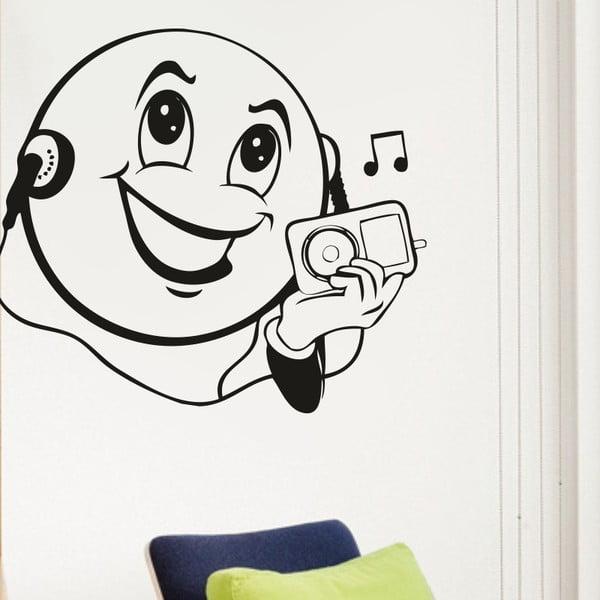 Samolepka na stěnu Music Smajlík, černá